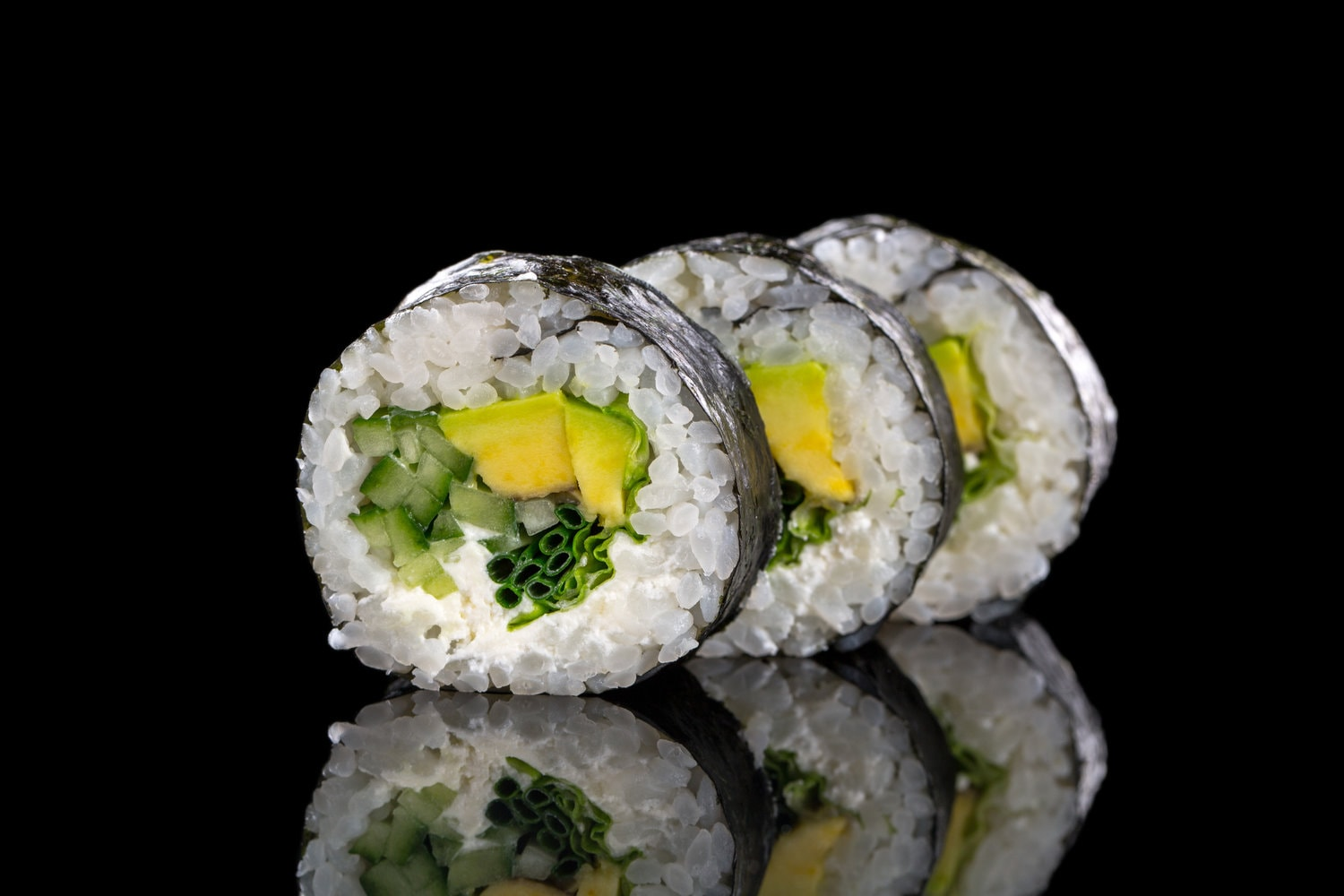 Sushi On The Black Background