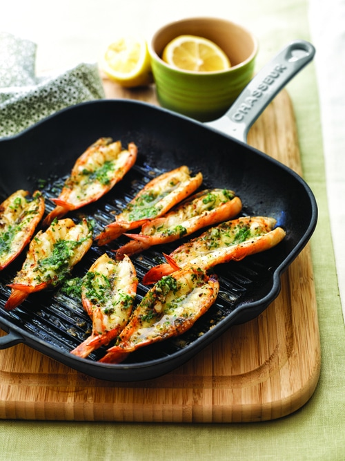 Chargrilled King Prawns with Garlic Butter by Manu Feildel