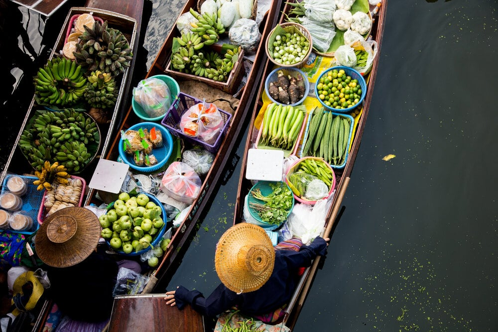 Tha Kha Floating Market In Thailand. Local Farmers Selling Vegetables.
