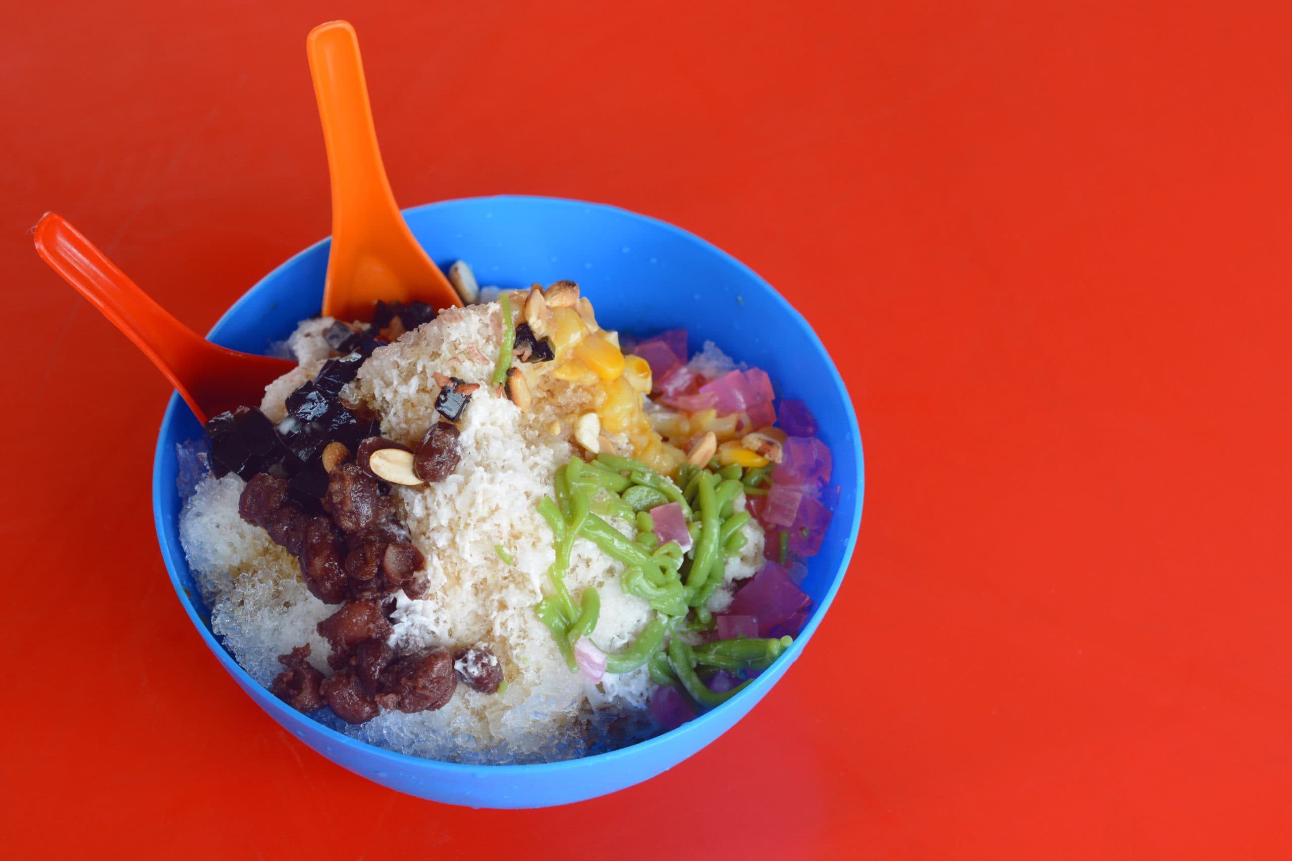 Ice Kacang Or Ais Kacang (ABC) In Malay Language, A Colorful Malaysian Dessert Made Of Shaved Ice, Beans And Colorful Jelly.