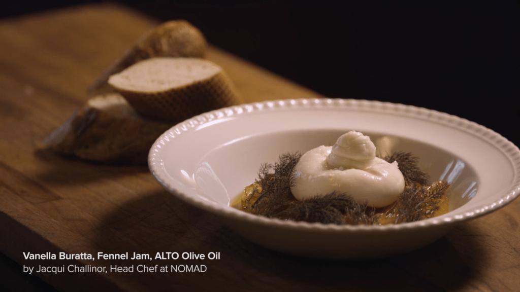Burrata, Fennel Jam, EVOO By Jacqui Challinor